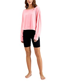 Super Soft Crew Sleep Top & Bike Shorts, Created for Macy's