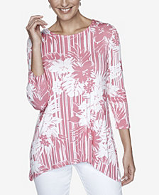 Ruby Rd. Women's Plus Size Hibiscus Printed Top