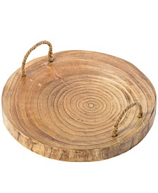 Wood Round Serving Platter Board with Rope Handles