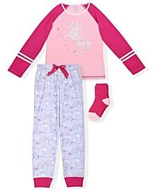 Big Girls Unicorn Print 2 Piece Pajama Set with Cozy Socks