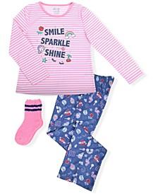 Big Girls Fun Novelty Print 2 Piece Pajama Set with Cozy Socks