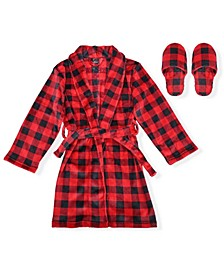 Big Boys Buffalo Check Flannel Fleece Robe with Slippers