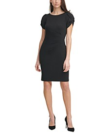 Scuba Crepe Pleated-Side Sheath Dress