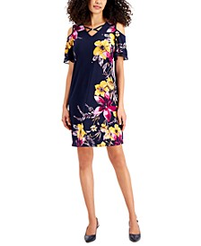 Petite Printed Tiered-Sleeve Dress, Created for Macy's
