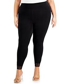 Trendy Plus Size Lace-Trim Leggings