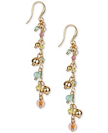 INC Gold-Tone & Multicolor Shaky Bead Charm Linear Drop Earrings, Created for Macy's