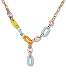 "INC Gold-Tone & Multicolor Link Lariat Necklace, 20"" + 3"" extender, Created for Macy's"