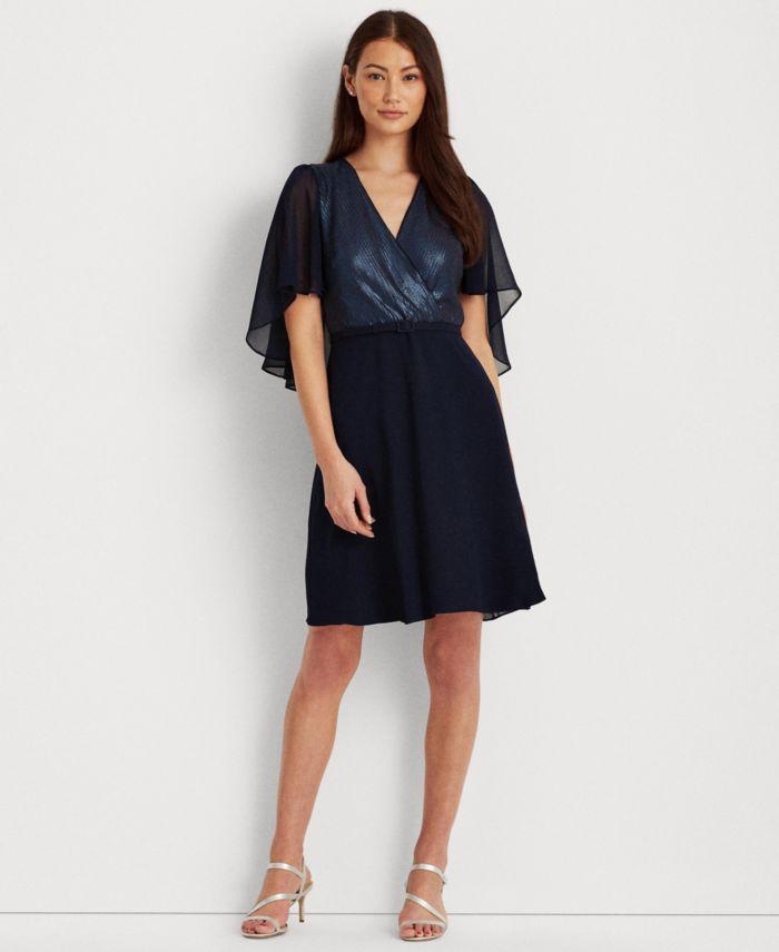 Lauren Ralph Lauren Sequined Chiffon Cape-Sleeve Dress & Reviews - Dresses - Women - Macy's