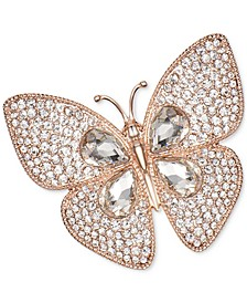 Rose Gold-Tone Crystal Butterfly Pin, Created for Macy's