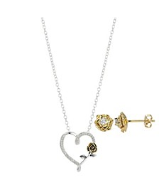 Two-Tone Cubic Zirconia Beauty & The Beast Rose Heart Pendant Necklace and Earring Set in Fine Silver Plated