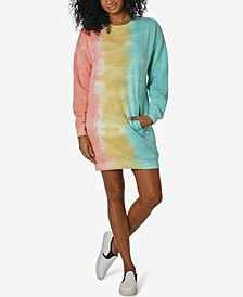 Juniors' Tie-Dyed Sweatshirt Dress