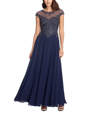 1940s Dress Styles Xscape Embellished Embroidered Gown $299.00 AT vintagedancer.com