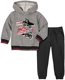 Toddler Boys 2-Piece Multi Trucks Work Zone Fleece Top with Fleece Pant Set