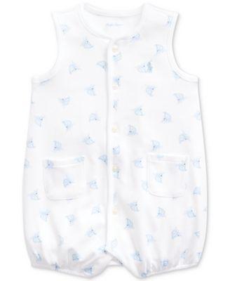 폴로 랄프로렌 Polo Ralph Lauren Baby Boys Boat-Print Cotton Interlock Shortall,White Multi