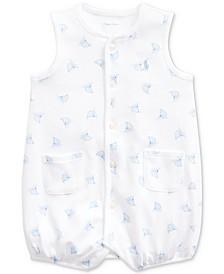 Ralph Lauren Baby Boys Boat-Print Cotton Interlock Shortall