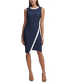 Asymmetrical Contrast-Trim Sheath Dress