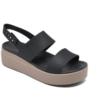 Crocs WOMEN'S BROOKLYN LOW WEDGE SANDALS FROM FINISH LINE