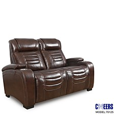 "Raylander 64"" Leather Power Loveseat, Created for Macy's"