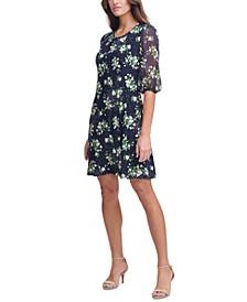 Petite Jersey Chiffon-Sleeve Shift Dress