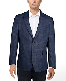Men's Slim-Fit Linen Plaid Blazer