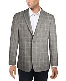 Men's Slim-Fit Brown Plaid Sport Coat
