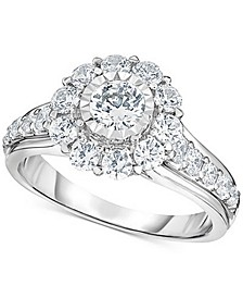 Diamond Halo Engagement Ring (1 1/2 ct. t.w.) in 14K White Gold