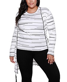 Black Label Plus Size Long Sleeve Cardigan With Belt