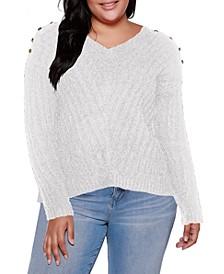 Black Label Plus Size V-Neck Rib Knit Sweater With Embellishment
