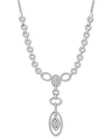 Diamond Oval Cluster Necklace (2 ct. t.w.) in 14k White Gold