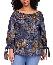 Plus Size Patchwork Tie-Sleeve Top