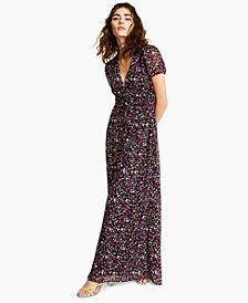 Floral-Print Puff-Sleeve Maxi Dress, Created for Macy's