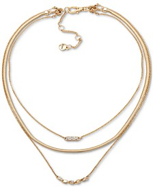 """Gold-Tone Crystal Three-Row Necklace, 16"""" + 3"""" extender"""