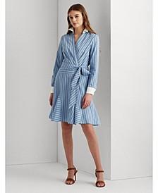 Petite Pinstripe Cotton Poplin Shirtdress