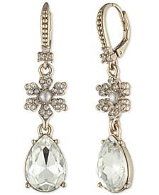 Gold-Tone Crystal & Imitation Pearl Flower Drop Earrings