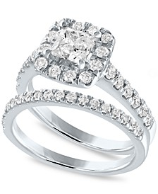 IGI Certified Diamond Halo Bridal Set (2 ct. t.w.) in 14k White Gold