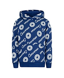 Big Boys Repeat Logo Print Pullover Hoodie
