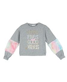 Big Girls Long Sleeve Faux Fur Sleeves Screen Print Pullover Top