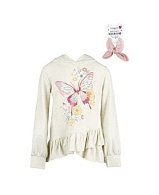 Big Girls Long Sleeve Ruffle Hem Screen Print Hoodie Top with Scrunchie