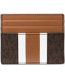 Men's Faux-Leather Tall Varsity Stripe Card Case