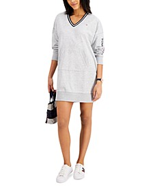V-Neck Sweatshirt Dress