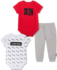Baby Boys 3-Piece Logo Print Bodysuits & Jogger Pants Set