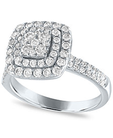Diamond Cushion Double Halo Cluster Engagement Ring (1 ct. t.w.) in 14k White Gold