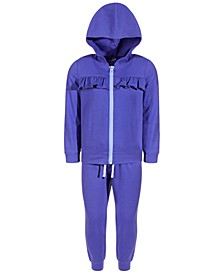 Little Girls 2-Pc. Fleece Ruffled Track Suit Set, Created for Macy's