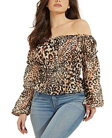 Off-the-Shoulder Animal Print Top
