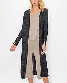 Women's Cozy Front Button Up Long Sleeve Duster