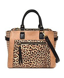 Women's Leopard Print and Plaid Satchel with Front Pocket
