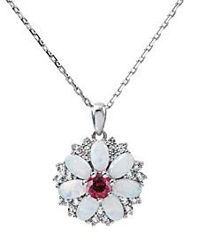 Women's Flower Pendant Necklace in Sterling Silver