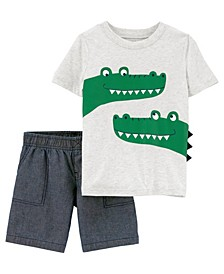Toddler Boys 2 Piece Alligator Tee Short Set