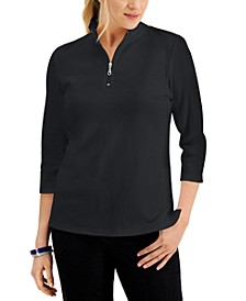 Cotton Zip-Neck Top, Created for Macy's