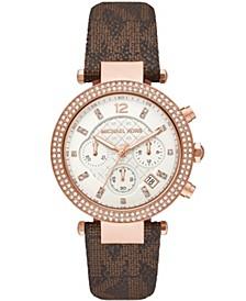 Women's Parker Chronograph Brown Signature Logo Strap Watch 39mm